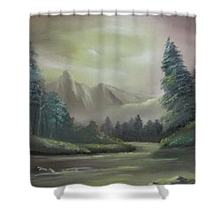 Mountain River Shower Curtain by Dawn Nickel