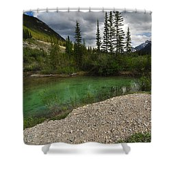 Mountain Scene Near A Small Pond In Kananaskis Country Alberta Canada Shower Curtain by Michael Mckinney