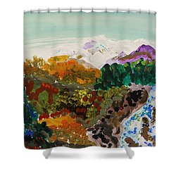 Mountain Water Shower Curtain by Mary Carol Williams