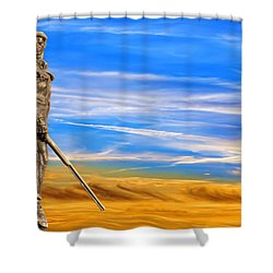 Mountaineer Statue With Blue Gold Sky Shower Curtain by Dan Friend