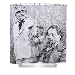 Mr Chicken And Mr Dickens Shower Curtain by James W Johnson