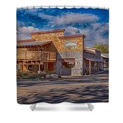 Mt Gardner Inn And Fly Shop Shower Curtain by Omaste Witkowski