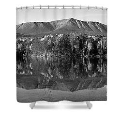 Mt Katahdin Black And White Shower Curtain by Glenn Gordon