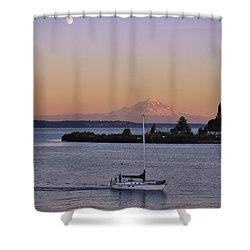 Mt. Rainier Afterglow Shower Curtain by Adam Romanowicz
