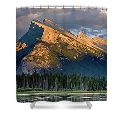 Mt. Rundle Grandeur Shower Curtain by Jerry Fornarotto