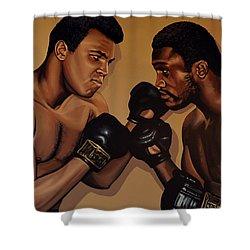 Muhammad Ali And Joe Frazier Shower Curtain by Paul Meijering