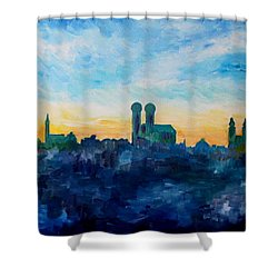 Munich Skyline With Church Of Our Lady Shower Curtain by M Bleichner