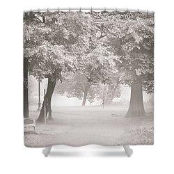 Museum Park Fog Shower Curtain by Trish Tritz