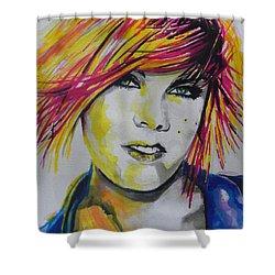 Music Artist..pink Shower Curtain by Chrisann Ellis