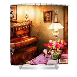Music - Piano - The Music Room Shower Curtain by Mike Savad