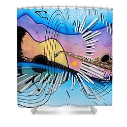 Musica Shower Curtain by Angel Ortiz
