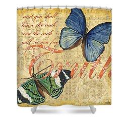 Musical Butterflies 3 Shower Curtain by Debbie DeWitt