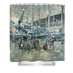 Mustang At Warton Shower Curtain by Peter Miller