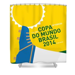 My 2014 World Cup Soccer Brazil - Rio Minimal Poster Shower Curtain by Chungkong Art