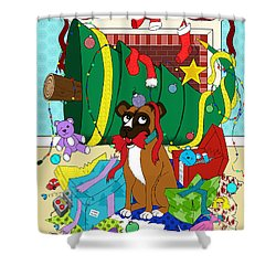 My Dog Ate Christmas Shower Curtain by Shawna  Rowe