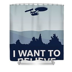 My I Want To Believe Minimal Poster-enterprice Shower Curtain by Chungkong Art
