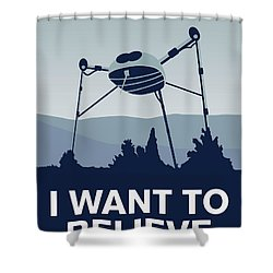 My I Want To Believe Minimal Poster-war-of-the-worlds Shower Curtain by Chungkong Art