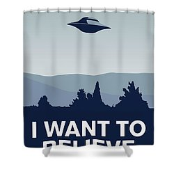 My I Want To Believe Minimal Poster-xfiles Shower Curtain by Chungkong Art