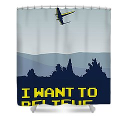 My I Want To Believe Minimal Poster- Xwing Shower Curtain by Chungkong Art