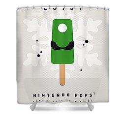 My Nintendo Ice Pop - Luigi Shower Curtain by Chungkong Art