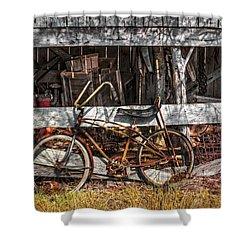 My Old Bike Shower Curtain by Debra and Dave Vanderlaan