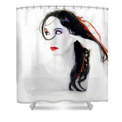 My Red Melancholy - Self Portrait Shower Curtain by Jaeda DeWalt