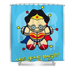 My Supercharged Voodoo Dolls Wonder Woman Shower Curtain by Chungkong Art