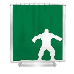 My Superhero 01 Angry Green Minimal Poster Shower Curtain by Chungkong Art