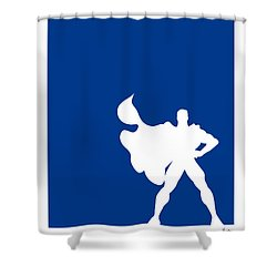 My Superhero 03 Super Blue Minimal Poster Shower Curtain by Chungkong Art