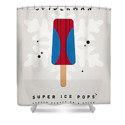 My Superhero Ice Pop - Spiderman Shower Curtain by Chungkong Art
