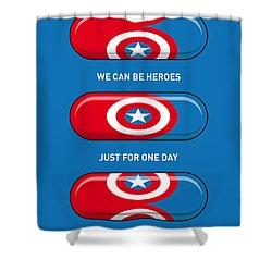 My Superhero Pills - Captain America Shower Curtain by Chungkong Art