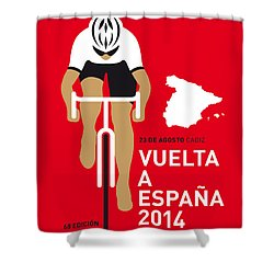 My Vuelta A Espana Minimal Poster 2014 Shower Curtain by Chungkong Art