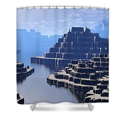 Mysterious Terraced Mountains Shower Curtain by Phil Perkins