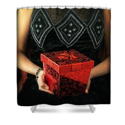 Mysterious Woman With Red Box Shower Curtain by Edward Fielding