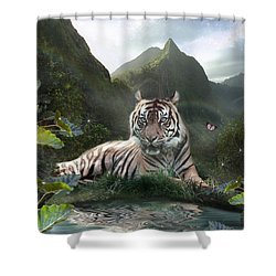 Mystic Tigress Shower Curtain by Alixandra Mullins