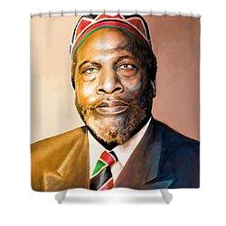Mzee Jomo Kenyatta Shower Curtain by Anthony Mwangi