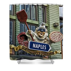 Naples Pizzeria Signage Downtown Disneyland Shower Curtain by Thomas Woolworth