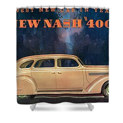 Nash 400 - Vintage Car Poster Shower Curtain by World Art Prints And Designs