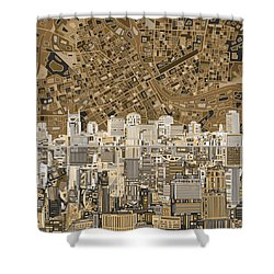 Nashville Skyline Abstract 2 Shower Curtain by Bekim Art