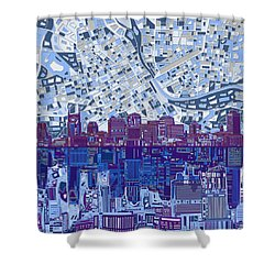 Nashville Skyline Abstract 8 Shower Curtain by Bekim Art