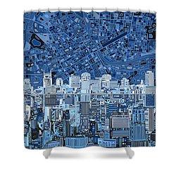Nashville Skyline Abstract Shower Curtain by Bekim Art