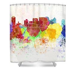 Nashville Skyline In Watercolor Background Shower Curtain by Pablo Romero