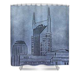 Nashville Skyline Sketch Shower Curtain by Dan Sproul