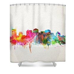 Nashville Skyline Watercolor 9 Shower Curtain by Bekim Art