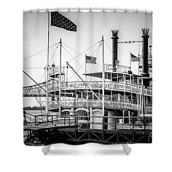 Natchez Steamboat In New Orleans Black And White Picture Shower Curtain by Paul Velgos