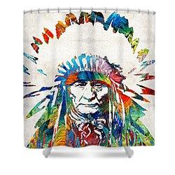 Native American Art - Chief - By Sharon Cummings Shower Curtain by Sharon Cummings