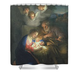 Nativity Scene Shower Curtain by Anton Raphael Mengs