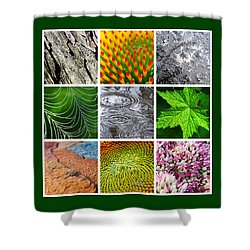 Nature Patterns And Textures Square Collage Shower Curtain by Christina Rollo