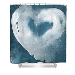 Navy Blue And White Love Shower Curtain by Linda Woods