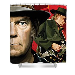 Neil Young Artwork Shower Curtain by Sheraz A